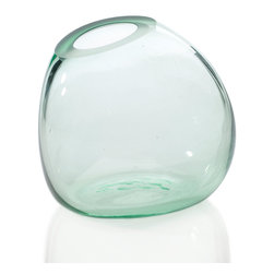 Sideways Vase in Clear - Fresh-picked flowers instantly add vibrant life to any room. Pick up one of these see-through glass vases and pack it with summertime blooms for décor that's lively.
