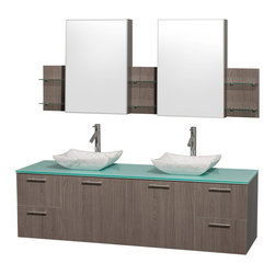 Wyndham Collection - 72 in. Vanity Set with Medicine Cabinet - Includes drain assemblies, mirror, sinks, and P-traps for easy assembly. Faucets not included. Four functional drawers. Two functional doors. Single-hole faucet mount. Fully-extending soft-close drawer slides. Concealed soft-close door hinges. Deep doweled drawers. Unique and striking contemporary design. Highly water-resistant low V.O.C. sealed finish. Eight-stage preparation. Lifetime warping prevention. Green glass top. Carrera marble sink. Metal exterior hardware with brushed chrome finish. Made from veneers and high quality grade E1 MDF. Gray oak finish. Vanity: 72 in. W x 22.25 in. D x 21.25 in. H. Sink: 5.5 in. H. Medicine cabinet: 71.5 in. W x 6 in. D x 30 in. H. Care Instruction. Vanity Assembly Instruction. Medicine Cabinet Assembly InstructionModern clean lines and a truly elegant design aesthetic meet affordability in the (No Suggestions) collection amare vanity. Available with green glass or pure white man-made stone counters, and featuring soft close door hinges and drawer glides, you'll never hear a noisy door again! Meticulously finished with brushed Chrome hardware, the attention to detail on this elegant contemporary vanity is unrivalled.