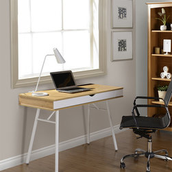 None - Modern Design Cord Management Workstation Desk - A clean cut look for a straight-forward space,this multi-functional workstation desk features a dual-compartment drawer and a rear cord management compartment to keep your working space free of clutter.