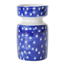 Blue Dot Vase - Hand painted, wheel thrown stoneware bud vase/planter/container with cobalt blue over glaze and carved out white dots. Glazed with a clear coat. Microwave and dishwasher safe.