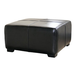 Wholesale Interiors - Black Full Leather Square Ottoman Footstool - This ottoman is a versatile piece useful in any room of your home. This elegant ottoman provides styles which allows you to match your existing leather sofa set. Frame built to last with sturdy construction consisting of kiln dried hardwood frame, with high density foam padding. Durable polyurethane coated leather upholstery for longer lasting use and stain resists for easy clean up. Contemporary clean line design with tapered down base. Leg constructed with solid rubber wood with veneer finish completes with elegant smooth, clean lines design. This Ottoman offers up the perfect way to sit back and relax. The perfect combination of quality craftsmanship with simple and sophisticated designs, that will instantly enhance any room decor.