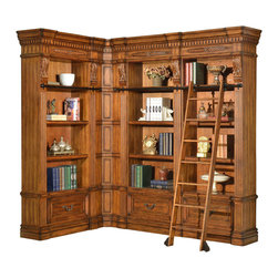 Parker House - Grand Manor Granada 3-Piece Corner Museum Bookcase with Ladder in Vintage Walnut - Parker House Furniture is based in California and has been serving the fine furniture industry since 1946. The company's time-proven quality is an industry standard. Parker House continues its legacy with its newest line of expanding television consoles and entertainment wall systems, plasma TV stands, and accessories. All solid wood is hand sorted for the project, verifying color, grain and structure. Specialty Veneering is done in house. We have a large inventory of domestic and exotic veneers. Parker House takes pride in the quality of its furniture and is committed to making customer satisfaction its number one priority.