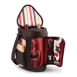 """Picnic Time - Meritage Wine And Cheese Tote - Moka Collection - The Meritage - Moka is a Picnic Time patented original design. It's constructed of 600D polyester in dark brown and features deluxe insulated wine and cheese service for two and storage for two bottles of wine or spirits. The insulated wine glass section converts to a third bottle compartment to give you more options. Any of the wine compartments can also be used to store snacks such as cheese, fruit and crackers. The Meritage has a padded, adjustable shoulder strap with non-slip underside and a padded handle for comfort and easy carrying. It comes complete with: 2 wine glasses (8 oz., acrylic), 1 hardwood cutting board (6 x 6""""), 1 stainless steel cheese knife with wooden handle, 1 stainless steel waiter-style corkscrew, 1 nickel-plated bottle stopper, and 2 napkins (100% cotton, 14 x 14"""", Moka design). When wine and cheese is all you fancy, the Meritage is the ideal way to ensure you have all you need in one tote. Includes: 2 wine glasses (8 oz., acrylic), 1 hardwood cutting board (6 x 6""""), 1 stainless steel cheese knife with wooden handle, 1 stainless steel waiter-style corkscrew, 1 nickel-plated bottle stopper, and 2 napkins (100% cotton, 14 x 14"""", Moka design)"""