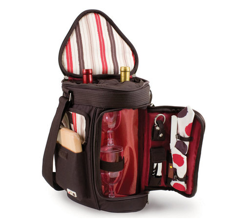 "Picnic Time - Meritage Wine And Cheese Tote - Moka Collection - The Meritage - Moka is a Picnic Time patented original design. It's constructed of 600D polyester in dark brown and features deluxe insulated wine and cheese service for two and storage for two bottles of wine or spirits. The insulated wine glass section converts to a third bottle compartment to give you more options. Any of the wine compartments can also be used to store snacks such as cheese, fruit and crackers. The Meritage has a padded, adjustable shoulder strap with non-slip underside and a padded handle for comfort and easy carrying. It comes complete with: 2 wine glasses (8 oz., acrylic), 1 hardwood cutting board (6 x 6""), 1 stainless steel cheese knife with wooden handle, 1 stainless steel waiter-style corkscrew, 1 nickel-plated bottle stopper, and 2 napkins (100% cotton, 14 x 14"", Moka design). When wine and cheese is all you fancy, the Meritage is the ideal way to ensure you have all you need in one tote. Includes: 2 wine glasses (8 oz., acrylic), 1 hardwood cutting board (6 x 6""), 1 stainless steel cheese knife with wooden handle, 1 stainless steel waiter-style corkscrew, 1 nickel-plated bottle stopper, and 2 napkins (100% cotton, 14 x 14"", Moka design)"