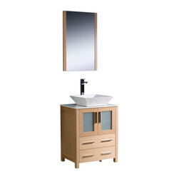 """Fresca - Torino 24"""" Light Oak Vanity w/ Vessel Sink Soana Brushed Nickel Faucet - Fresca is pleased to usher in a new age of customization with the introduction of its Torino line.  The frosted glass panels of the doors balance out the sleek and modern lines of Torino, making it fit perfectly in eithertown or country decor."""