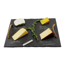 Slate & Soapstone Chalk - Make it easy for your guests to choose their appetizers with this beautiful and functional cheese tray complete with hemp rope handles. Includes food-safe soapstone chalk.