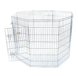 """Majestic Pet Products - 42"""" Exercise Pen -Large - Titan brand 42"""" Pet Exercise Pen by Majestic Pet Products is great for use at home, travel, or shows. This exercise pen is made of 9 & 11 gauge wire with a titanium zinc-plated finish and has a secure, double latch door within a panel, for easy step through access. You have the flexibility to arrange this pen in the shape of choice or even buy two exercise pens and hook them together to make a larger exercise pen. It can also be attached to a dog crate for a complete kennel solution. Easy assembly - just unfold and secure with the included ground anchors. Easy to carry - just fold it flat! Sizing Rule of Thumb: Choose a pen that is at least 4"""" inches taller than the top of your dogs head."""