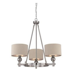 Quoizel Metro Brushed Nickel with Fabric Shades Chandelier -