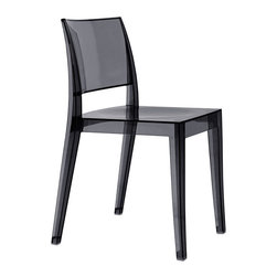 Gyza Chair (set of 4) by Plastix / Papatya - Offered in sets of four, the Gyza aims to please even the most discerning of plastic chair aficionados. With an artful modern design and cool color options, you'll love this one. Go bold with brilliant transparent red or choose from solid white, transparent smoked or crystal clear.