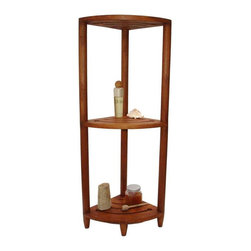 Aqua Teak - Teak 3 Shelf Corner Stand - 3 shelf corner unit. Each shelf is almost 1 x 1. Use indoor or outdoor. Natural resistance to water, mold and mildew. Versatile. Some assembly required. 12 in. L x 12 in. W x 40.5 in. H (11 lbs.)All material is sustainably harvested teak from certified EcoSafe plantations. Teak wood has a life expectancy of 75 years if left untreated due to its natural rubber content that naturally resists moisture. No other wood compares to Teak when it comes to durability, elegance, stability and low maintenance. Provides both functional and aesthetic features to your decor