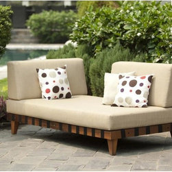 Amazonia - Adriatic Indoor/ Outdoor Chaise Lounge - Refined and sophisticated with a modern motif,this fabulous eco-friendly outdoor chaise lounger features a durable frame crafted of solid eucalyptus wood with plush,water-resistant polyester cushions.