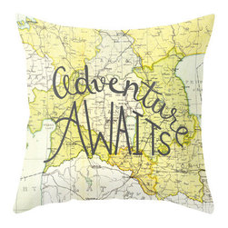 "Adventure Awaits Throw Pillow - This 16x16 throw pillow cover and pillow insert features an original hand-lettered design that says ""Adventure Awaits"" and is the perfect accent to your bed, couch or a cute corner chair. The design is printed on both sides of the pillow cover. It's the perfect pop of color for neutral decor."