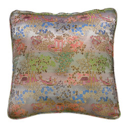 China Furniture and Arts - Silk Pillow - Scenery Design, Silver - Embroidered with traditional Chinese pattern. The Chinese traditional court yard design is brocaded on the luxurious silk. Mix or arrange decoratively on a sofa, bed, or chaise. Zipper cover removes for dry cleaning.
