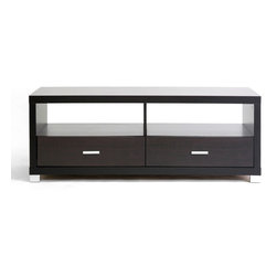 Wholesale Interiors - Derwent Modern TV Stand with Drawers - Simple, contemporary, and free of unnecessary bells and whistles, the functional Derwent TV Stand has the essentials for displaying and storing your television, sound system, and peripherals. The table's size accommodates either flat panel or older, larger tube television sets with equal finesse. Store accompanying DVD players and accessories in the two drawers and two open shelves below your television. The unit is made of dark brown wood effect veneered lapped chipboard with silver tone drawer pulls and legs. The Derwent TV stand can also function as a coffee table. To clean, wipe the unit with a damp cloth. Assembly is required.