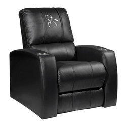 Dreamseat Inc. - Horse - Equestrian Home Theater Leather Recliner - Check out this Awesome Leather Recliner. Quite simply, it's one of the coolest things we've ever seen. This is unbelievably comfortable - once you're in it, you won't want to get up. Features a zip-in-zip-out logo panel embroidered with 70,000 stitches. Converts from a solid color to custom-logo furniture in seconds - perfect for a shared or multi-purpose room. Root for several teams? Simply swap the panels out when the seasons change. This is a true statement piece that is perfect for your Man Cave, Game Room, basement or garage. It combines contemporary design with the ultimate comfort from a fully reclining frame with lumbar and full leg support.