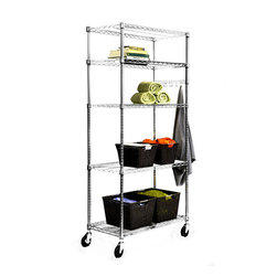 Trinity - Trinity 36-inch NSF Chrome Wire Shelving Rack - Practical and stylish, this chrome wire shelving rack features adjustable shelves for complete customization. The unit can remain stationary or become mobile with the addition of the included casters. It's a versatile piece than can be used everywhere.