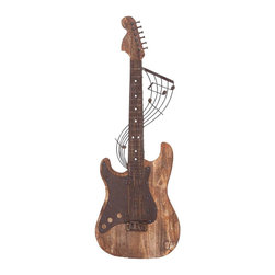"Benzara - Wood Metal Wall Decor with Brown Rich Wood Finish - Wood Metal Wall Decor with Brown Rich Wood Finish. Excellently designed, this wooden guitar wall decor is sure to be a pride of your room with its exquisite looks and a depiction of your craze towards soothing guitar music. It comes with a following dimensions 11""W x 1""D x 36""H."