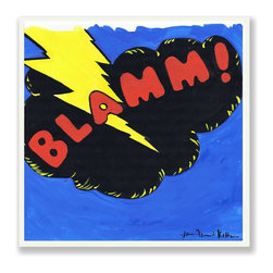 Stupell Industries - 'Blamm' Blue/Red/Yellow Square Wall Plaque - Made in USA. MDF Fiberboard. Hand finished and packed. Approx. 12 in. W x 12 in. L. 0.5 in. ThickThe Kids Room by Stupell features exceptional handcrafted wall decor for children of all ages.  Using original art designed by in-house artists, all pieces feature hand painted and grooved borders as well as colorful grosgrain ribbon for hanging.  Made in the USA, everything found in The Kids Room by Stupell exudes extraordinary detail with crisp vibrant color. Whether you are looking for one piece to match an existing room's theme, or looking for a series to bring the kid's room to life, you will most definitely find what you are looking for in The Kids Room by Stupell.