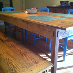 Reclaimed Wood Farmhouse Table and Benches -