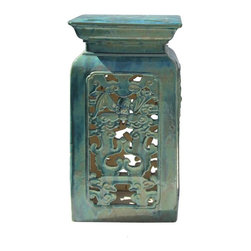Golden Lotus - Chinese Ceramic Clay Turquoise Green Square Tall Pedestal Stand - This stool / stand is made of clay and glazed with Turquoise green color. It is a decorative piece for in door or outdoor as a stand or an accent piece. It is a hand made item, there is a variation in the glaze result and the finish, imperfection exists.