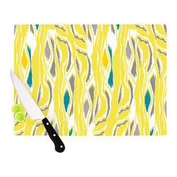 """Kess InHouse - Gill Eggleston """"Barengo Sunshine"""" Cutting Board (11.5"""" x 15.75"""") - These sturdy tempered glass cutting boards will make everything you chop look like a Dutch painting. Perfect the art of cooking with your KESS InHouse unique art cutting board. Go for patterns or painted, either way this non-skid, dishwasher safe cutting board is perfect for preparing any artistic dinner or serving. Cut, chop, serve or frame, all of these unique cutting boards are gorgeous."""