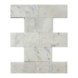 Speranza Carrera 3x6 Polished Marble Tile - Speranza Carrera 3x6 Polished Marble Tile  This minimalist design would make a striking back splash for your kitchen or bring a modern touch to your fireplace or any other decorated spot in your home. Please note that natural stones are products of nature therefore variations in color, pattern, texture and veining will occur.