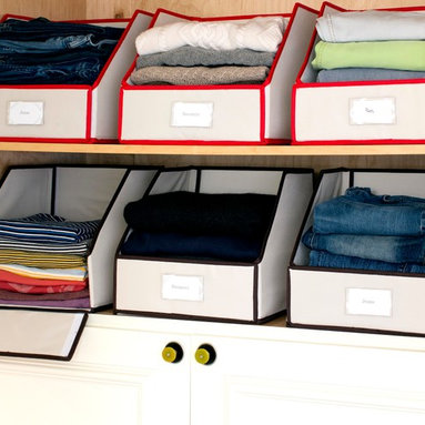 Great Useful Stuff - Sweater Bins - Your dirty little secret is that your closet is a disaster. Repent by decluttering your space with these stylish storage bins. Heavy weight and durable, the bins help you organize your clothes and keep everything from tumbling out of the closet when you reach for a sweater.