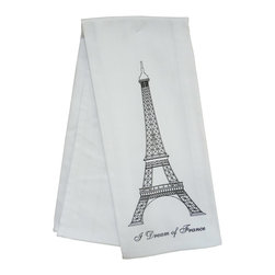 Eiffel Tower Kitchen Towel - This heavy white cotton towel is printed with an Eiffel Tower. Whether used in the kitchen, on the table or in the bar, this 100% cotton absorbent towel is also a perfect oversized napkin.