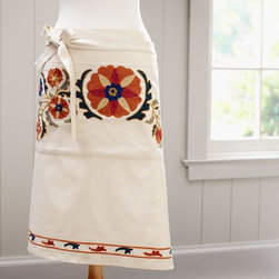 Mila Suzani Embroidered Half Apron - This embroidered half apron will get you in the mood for cooking pumpkin pies!