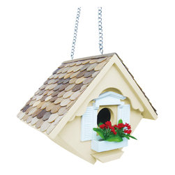 Home Bazaar Inc - Little Wren Birdhouse, Yellow - This hanging house is designed to accommodate house wrens, one of the only species that tolerates a swinging nest box! Topped with western red cedar, this charming little cottage has a window box frame and planter with decorative flowers (removable for outdoor use). Fully functional house has a bottom panel that can be easily removed for yearly cleaning. Sturdy brass chain.