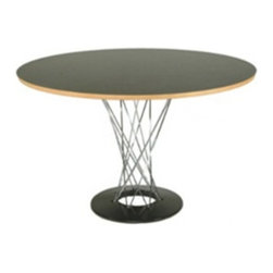 """Lemoderno - Fine Mod Imports  Wire Dining Table 42"""", Black - Our Wire dining table, entirely made to perfect detail and exactly follow specifications as the original. It features melamine veneer finish on plywood top and chrome plated steel legs with cast iron black base. This fabulous and stylish dining table looks great in any setting. Wood Top Chrome Plated Steel Legs Cast Iron Base  Assembly Required"""