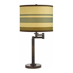 Design Classics Lighting - Bronze Three-Way Drum Table Lamp with Swing-Arm - 1902-1-604 SH9542 - Contemporary / modern remington bronze 1-light table lamp. Swing arm has a maximum 9-inch extension. Takes (1) 100-watt incandescent three-way bulb(s). Bulb(s) sold separately. UL listed. Dry location rated.