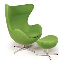 Kardiel Egg Chair & Ottoman, Apple Green Boucle Cashmere Wool - This premium Egg chair reproduction and the matching ottoman are a sculptural masterpiece. The original design was created by Arne Jacobsen in 1958, and versions of it sell today for upwards of $5,000. You can have this beautiful reproduction in your home at a fraction and the best part is no one will know the difference. Its creation is taken from respect of the dimensions, the angles, the pitch and curve wrap of the original mid century classic design. Arne Jacobsen's attention to these details is what made the original Egg Chair an iconic classic. Originally built for the Radisson Hotel in Copenhagen the Egg Chair was typical of Arne Jacobsen's style and it quickly became a Mid Century Classic. Jacobsen was known for using unique materials in his pieces and was not afraid to take risks with the shape. It has been suggested that the Egg Chair design was actually inspired by Eero Saarinen's Womb Chair. Regardless, in many respects the Egg is a more complete design. An admired trait of the chair is the relatively thin oval body design. Its gracious curves comfortably surround the sitter. The high wing back makes it an excellent chair for curling up in with a good book. The egg chair is the essence of form and function. The Egg has appeared in movies, mags and TV since its birth in 1958. Among some of the more famous celebrities to be seen in Egg Chairs in photo shoots are Marilyn Monroe, Brigitte Bardot on cover of Vogue in the 1960s, and more recently Michelle Pfiefer on the cover of Esquire Magazine.