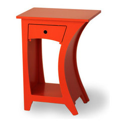 """Curved Side Table, Reversible With Drawer - Don't you just expect to see some little creature poke its head out of this drawer — maybe the """"nureau in my bureau""""?"""