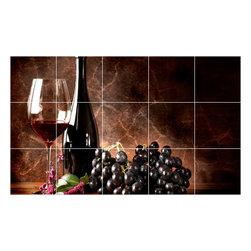 Picture-Tiles, LLC - Wine Grapes Picture Kitchen Bathroom Ceramic Tile Mural  18 x 30 - * Wine Grapes Picture Kitchen Bathroom Ceramic Tile Mural 1554