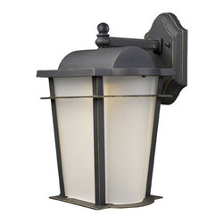 """Elk Lighting - Elk Lighting 43006/1 11"""" Extension Traditional / Classic Outdoor 1 Light LED Wal - 11"""" Extension Traditional / Classic Outdoor 1 Light LED Wall Lantern with a Rectangular Shade from the Hampton Ridge CollectionOffering transformer free LED technology, each fixture is constructed of cast aluminum finished in Weathered Charcoal. An arching peak and sweeping lines are softened by curved frosted glass.Features:"""