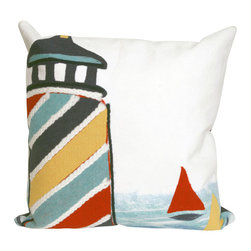 """Trans-Ocean Inc - Lighthouse Multi 20"""" Square Indoor Outdoor Pillow - The highly detailed painterly effect is achieved by Liora Mannes patented Lamontage process which combines hand crafted art with cutting edge technology. These pillows are made with 100% polyester microfiber for an extra soft hand, and a 100% Polyester Insert. Liora Manne's pillows are suitable for Indoors or Outdoors, are antimicrobial, have a removable cover with a zipper closure for easy-care, and are handwashable.; Material: 100% Polyester; Primary Color: White;  Secondary Colors: blue, navy, red, yellow; Pattern: Lighthouse; Dimensions: 20 inches length x 20 inches width; Construction: Hand Made; Care Instructions: Hand wash with mild detergent. Air dry flat. Do not use a hard bristle brush."""
