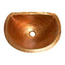 "Artesano Copper Sinks - Oval Bathroom Copper Sink with Flat Back and Flat Rim - Oval Bathroom Sink with Flat Back and Flat Rim 17 x 14 x 6  for Undermount installation, 1"" rim, all hand made, all copper, all hammered"
