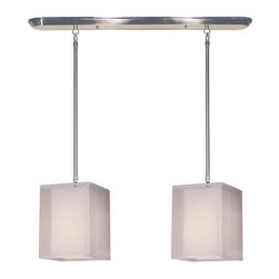 Two Light Brushed Nickel Organza White Shade Island Light - This contemporary fixture uses two rectangular, white outer organza shades to allow a glimpse of the inner opaque shades, which emanate a soft glow. The hardware is finished in brushed nickel and includes telescoping rods to ensure a perfect hanging height. This fixture would be perfect for any contemporary space.