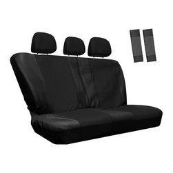 None - Oxgord Synthetic / Imitation Leather 8-piece Bench Seat Cover Set for Any Split - The OxGord Solid bench seat cover is perfect for protecting the original upholstery in your car. This cover is made of a smooth, resilient, semi-stretchable PU faux leather material, offers easy installation and includes adjustable straps and S-hooks.