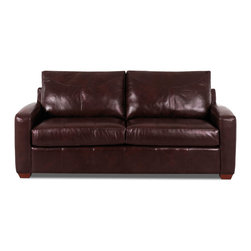 Savvy - Boulder Leather Sofa, Chesterfield Merlot - The Boulder Leather Sofa is our most popular leather style in the Savvy brand.  Available in two leathers, the Boulder is upholstered in 100% top-grain hide.