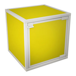 Way Basics - Box Storage Cube, Yellow - Want to add some flexibility into your life? These stackable, connectable storage cubes will help organize your space in almost any configuration you can dream up. Easy, tool-free assembly allows you to try out different arrangements and then change your mind at a whim. Made from recycled paper, the cubes are non-toxic and lightweight, yet super strong. Doors and wheels are available separately.