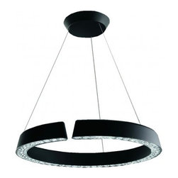 """Swarovski - Swarovski Inside out chandelier - black - by Swarovski - inventory sale - Products description:  The Inside/Out circle pendant combines industrial reduction with elegance. Designed by Stephen Burks, the Swarovski crystal is not only decorative but, simultaneously serves as a diffusor giving a brilliant sparkle to any environment. Austria made Swarovski crystals whether illuminated or not, sparkles in the seven colors of the rainbow making it the ideal masterpiece for jewellery lighting. UL Listed. - Display model - Only one item left at this incredible price      Manufacturer:    Swarovski      Designer:    Stephen Burks      Made in:    Austria      Dimensions:    Small: SNT110 / SNT111 - Height: 83"""" (211cm) X Width: 8"""" (20cm)      Light bulb:    Small: 126 x 0.08W"""