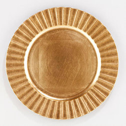 Gold Fluted Chargers, Set of 4 - Place white dinner plates on these gold chargers for a dynamic look.
