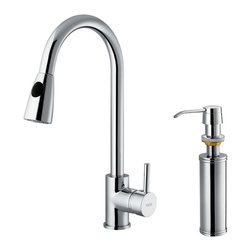 Vigo - Vigo Chrome Pull-Out Spray Kitchen Faucet with Soap Dispenser - Add flair to your kitchen with this stylish yet durable Vigo faucet