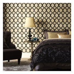 Graham & Brown - Highbury Wallpaper - Elegant gold glitter embellishments have been used to accentuate the sweeping curves of this simple yet stylish geometric. Varying textural elements add a unique touch.