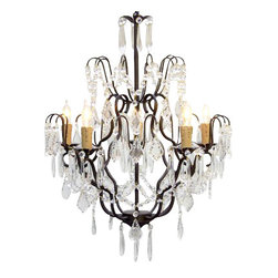"The Gallery - Wrought Iron Crystal Chandelier Chandeliers Lighting H27"" x W21"" - 100% Crystal Wrought Iron Chandelier. A Great European Tradition. Nothing is quite as elegant as the fine crystal chandeliers that gave sparkle to brilliant evenings at palaces and manor houses across Europe. This beautiful chandelier from the Versailles Collection has 5 lights and is decorated and draped with 100% crystal that capture and reflect the light of the candle bulbs. The frame is Wrought Iron, adding the finishing touch to a wonderful fixture. The timeless elegance of this chandelier is sure to lend a special atmosphere anywhere its placed! This item comes with 18 inches of chain. size: H.27"" W.21"" Lightbulbs not included.**FULL ASSEMBLY IS REQUIRED**."