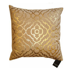 Tahari - Tahari Down Pillow - Mod Gold Print on Velvet - Elegant down Tahari pillow with gold metallic mod print on velvet. It is very soft and squishy/comfy; it not only looks luxurious but feels it too. Hidden zipper on solid velvet back.