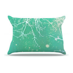 """Kess InHouse - Alison Coxon """"White Branches"""" Teal Pillow Case, King (36"""" x 20"""") - This pillowcase, is just as bunny soft as the Kess InHouse duvet. It's made of microfiber velvety fleece. This machine washable fleece pillow case is the perfect accent to any duvet. Be your Bed's Curator."""