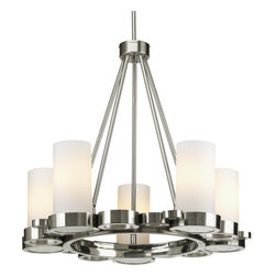 Progress Lighting - Progress Lighting P4647-09 Bingo Five-Light Contemporary Up-Lighting Chandelier - A contemporary chandelier that marries a modern lighting flair with the candle chandeliers of old. Includes several cutouts that you can fill with accents of your choosing.Features: